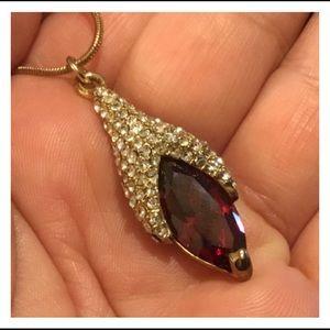 Elegant Burgundy Crystals Gold Pendent Necklace